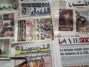 صحف.دماء بشرية تغطي مؤسسة تعليمية تستنفر امن مراكش وقناص امينتانوت يصور شرطيا يتلقى رشاوى