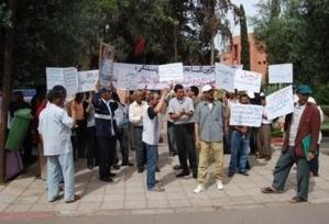 اعتصام 20 من أساتذة سد الخصاص بمقر نيابة التربية الوطنية يستنفر امن مراكش