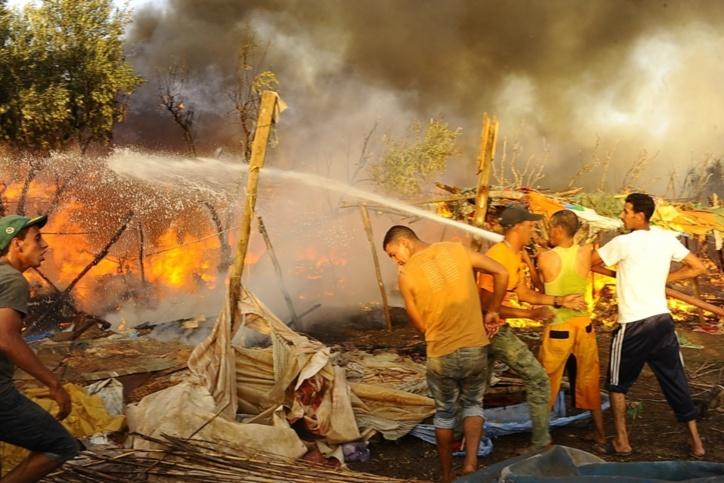 حريق سوق دوار ازكي بمراكش ..البوم الصور