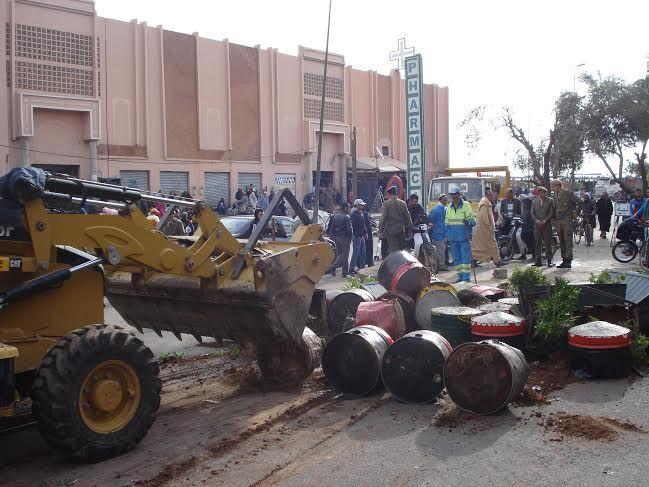 حملة تحرير الملك العمومي تمتد إلى سيدي يوسف بنعلي + صور
