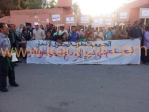 لهذا السبب نظم فرع الجمعية المغربية لحقوق الإنسان بقلعة السراغنة وقفة إحتجاجية