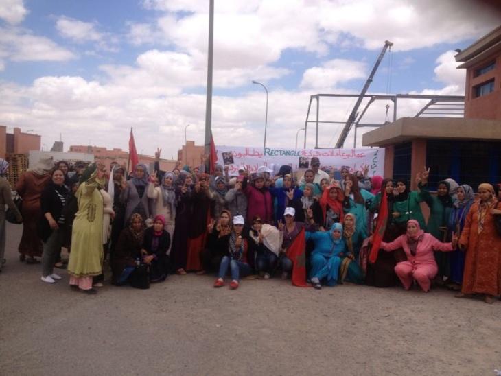 اعتصام مفتوح لعمال احدى الشركات المتخصصة في صنع الملابس الداخلية بالحي الصناعي بمراكش بسبب الحگرة