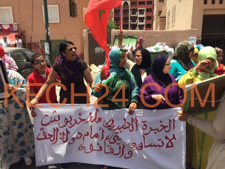 وقفة احتجاجية لأسرة العميد خربوش أمام بولمهارز بمراكش