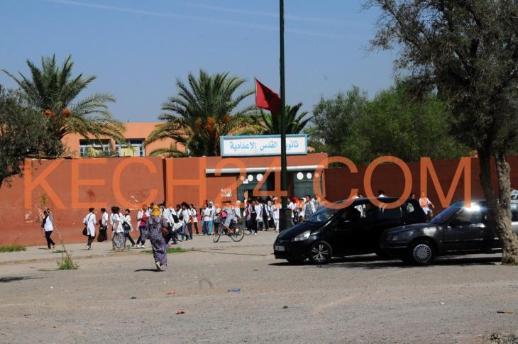 عناصر الامن الوطني تؤمن مرور اختبارات الجهوي بثانوية القدس بمراكش بعد اعتداء شنيع تعرضت له التلميذة