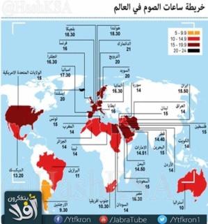 ساعات الصوم في رمضان .. من 9 في الأرجنتين إلى 21 في الدنمارك