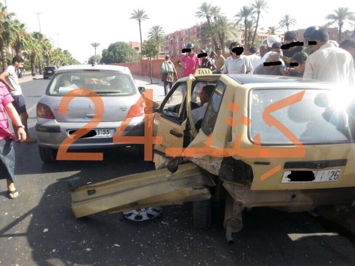 اصابة سيدة بجروح خطيرة اتر حادثة سيرة بشارع علال الفاسي بمراكش + صورة حصرية