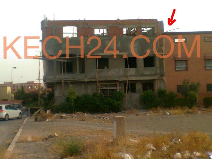 مصالح ولاية الجهة تقرر هدم الطابق الثاني الذي تم تشييده بدون رخصة بحي الازدهار بمراكش + صورة خاصة