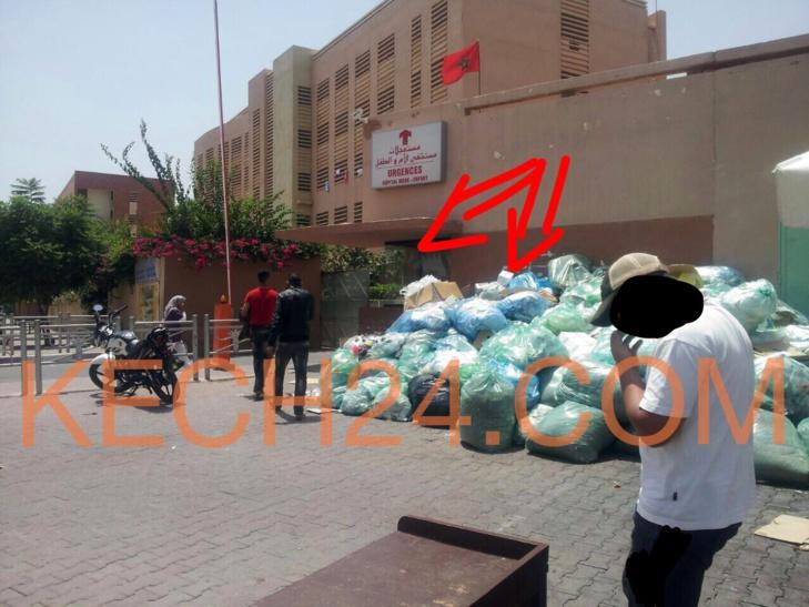 النفايات الطبية تحاصر المستشفى الجامعي للام والطفل بمراكش .. وسط صمت المسؤولين صورة حصرية