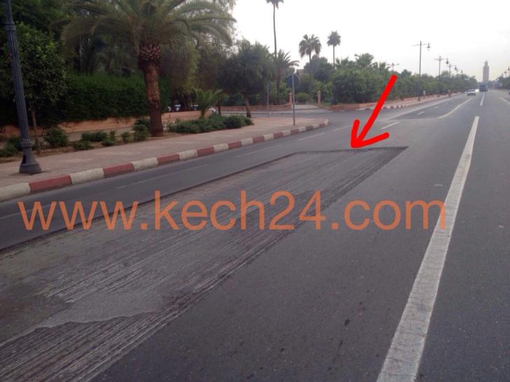 حفرة قرب شارع محمد السادس تتسبب في جروح لسائق دراجة نارية + صورة حصرية