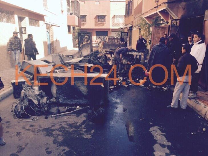 اصابة عنصر من الوقاية المدنية في حريق بالداوديات بمراكش + صورة