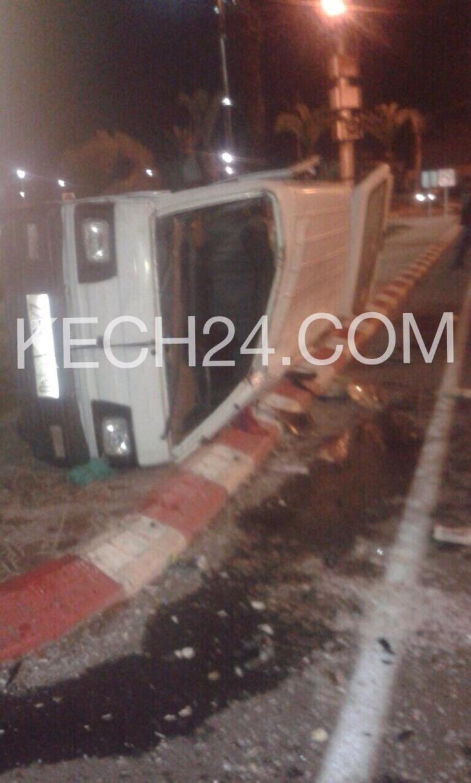 خطير : انقلاب سيارة اثر حادثة سير بجيليز مراكش + صور حصرية
