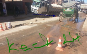 بالصورة : شارع يبتلع شاحنة ببلدية أيت أورير اقليم الحوز
