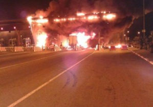 الشركة الوطنية للطرق السيارة تكشف سبب حريق محطة الاداء ببرشيد