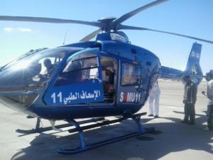 نقل مصابة في حادثة سير ضواحي طانطان بواسطة مروحية طبية إلى المستشفى بمراكش