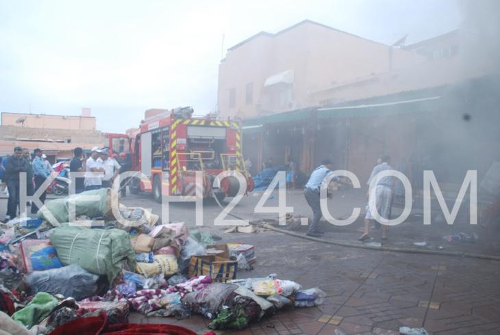 بالصور : حريق محل تجاري بجامع لفنا و