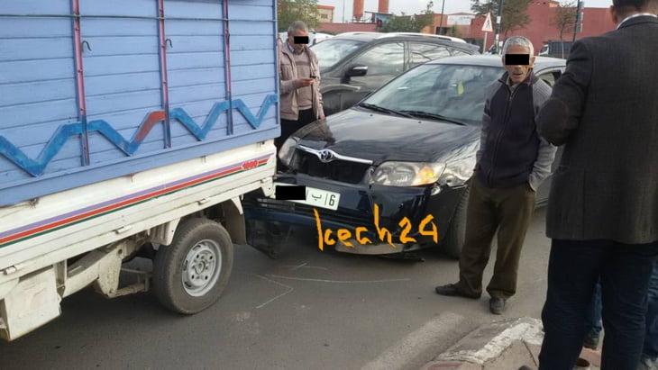عاجل: حادثة سير بمدارة الأحباس بشارع الحسن الثاني بمراكش + صور