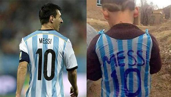 ميسي يحقق أمنية الطفل الأفغاني مرتضى الذي صنع قميصا للنجم الأرجنتيني من كيس بلاستيكي