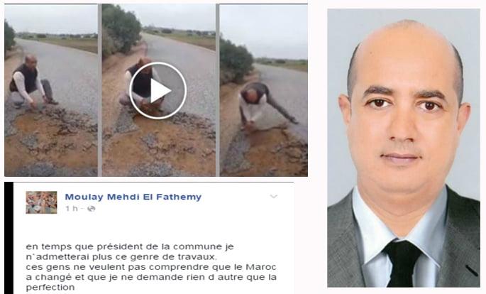 سخرية عارمة في أوساط الفايسبوكيين بعد نشر رئيس جماعة لفيديو يفضح الغش في تعبيد الطرق بالمغرب