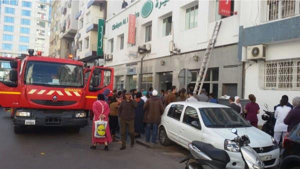 اندلاع حريق بمصحة يجبر المرضى للخروج للشارع