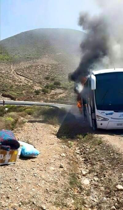 احتراق حافلة لنقل الركاب متجهة من مراكش صوب مدينة العيون