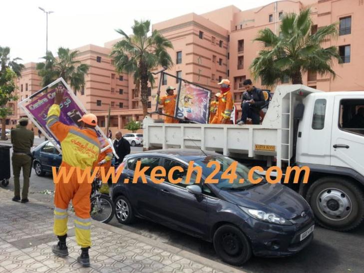 السلطة المحلية تشن حملة لتحرير الملك العمومي بشارع علال الفاسي بمراكش
