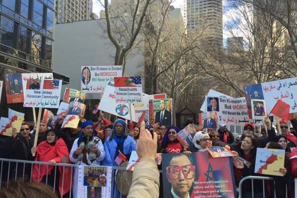 وقفة حاشدة لمغاربة أمام مقر الأمم المتحدة احتجاجا على بان كيمون