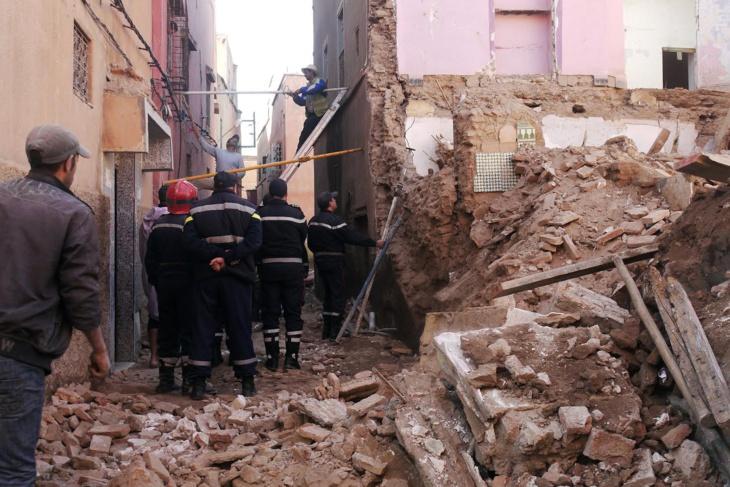 انهيار بناية آيلة للسقوط مكونة من أربعة طوابق