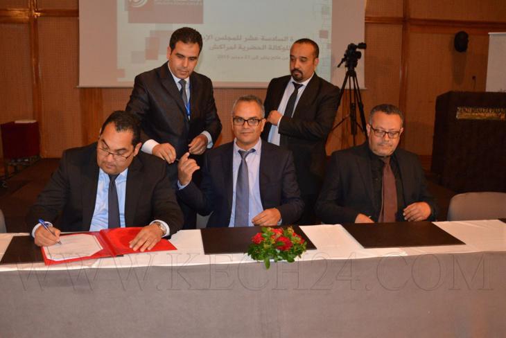 توقيع اتفاقية إطار بين الوكالة الحضرية لمراكش والمجلس الجماعي لخلق شراكة التدبير اللامادي لمساطر الترخيص في مجال التعمير