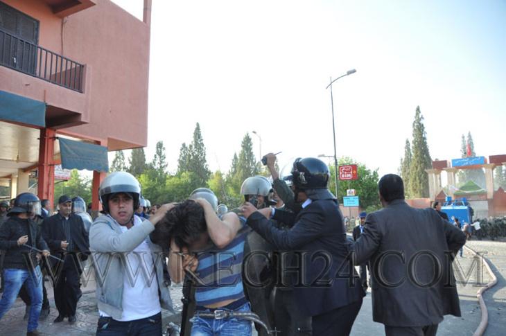 هذا عدد الطلبة الذين اعتقلتهم قوات الأمن على خلفية احتجاجات تأخر المنح بمراكش + صور