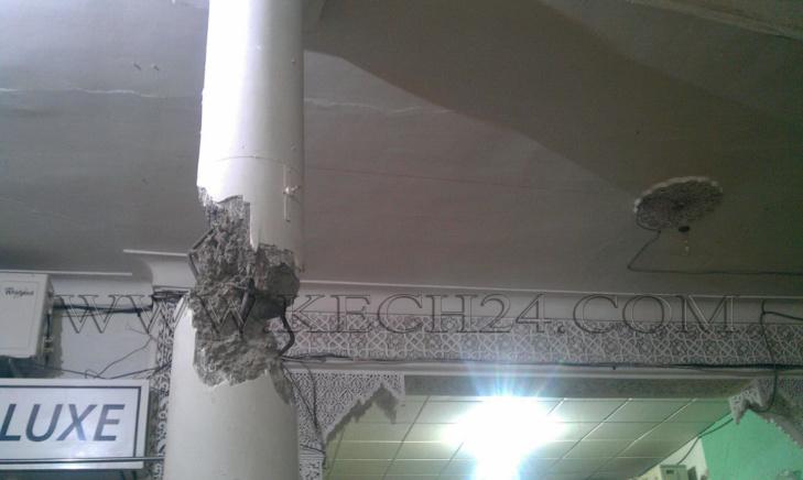 عاجل: هلع وسط تجار ورواد قيسارية بالمدينة العتيقة لمراكش جراء تصدع عمود اسمنتي + صور
