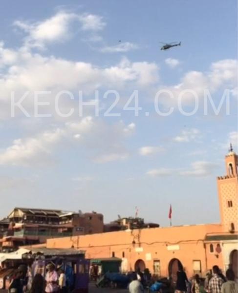 مروحية للدرك الملكي فوق ساحة جامع لفنا بمراكش + صورة