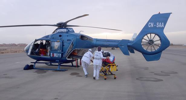 نقل شاب يعاني من مرض في الكبد إلى المركز الاستشفائي الجامعي بمراكش عبر المروحية الطبية