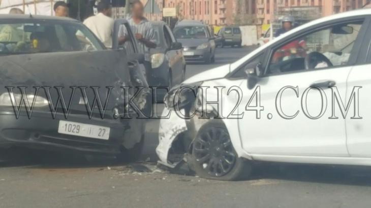 إصطدام سيارتين بمقاطعة جليز بمراكش دون وقوع إصابات + صورة