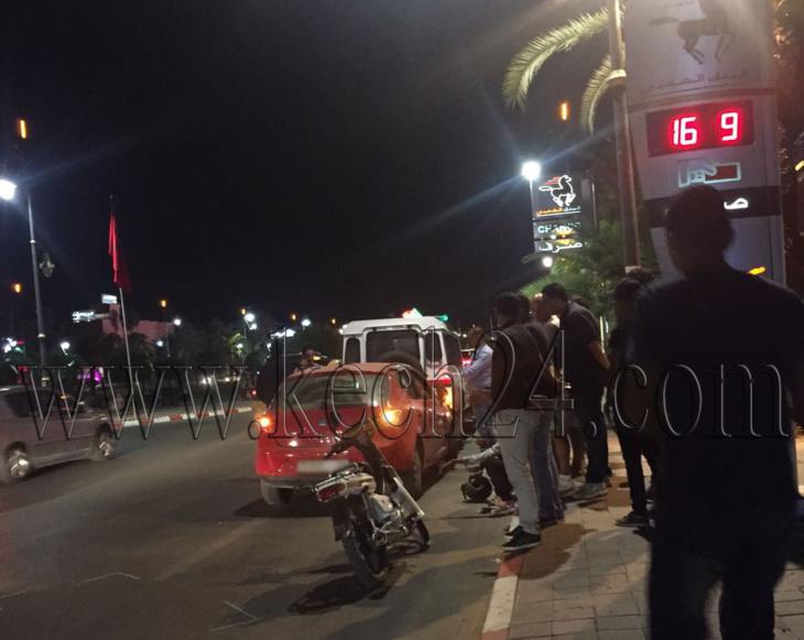 إصطدام بين سيارة ودراجة نارية بشارع محمد السادس بمراكش + صورة