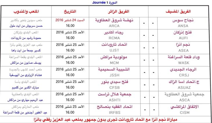 رسميا هذا هو برنامج مباريات الدورة الأولى لفرق مراكش ضمن قسم الهواة