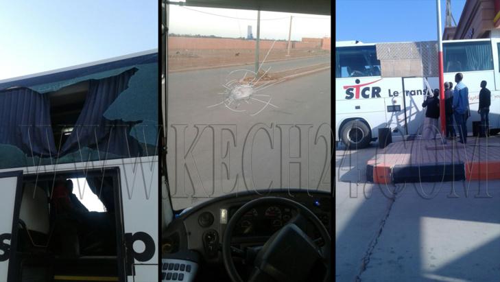 بالصور: هجوم عنيف على حافلة للركاب قرب مراكش يخلف إصابة شخصين