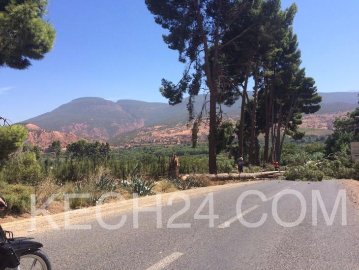 عاجل: انقطاع الطريق بين أسني ومركز مولاي ابراهيم بإقليم الحوز + صورة