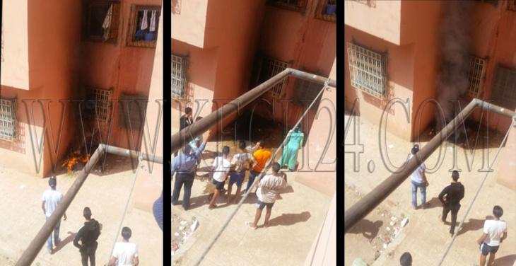 منحرفون يضرمون النار خلف عمارة سكنية بحي لمحاميد بمراكش ويلوذون بالفرار + صور