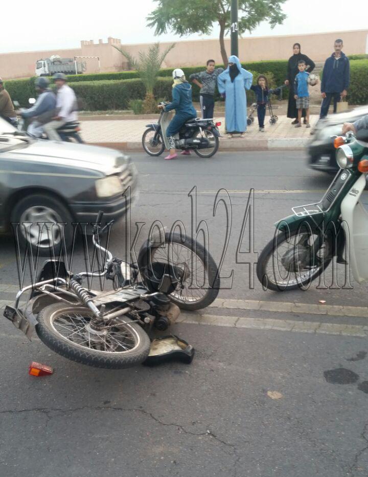 إصابة قاصرين بجروح متفاوتة في حادثة سير بسيدي يوسف بن علي بمراكش + صور