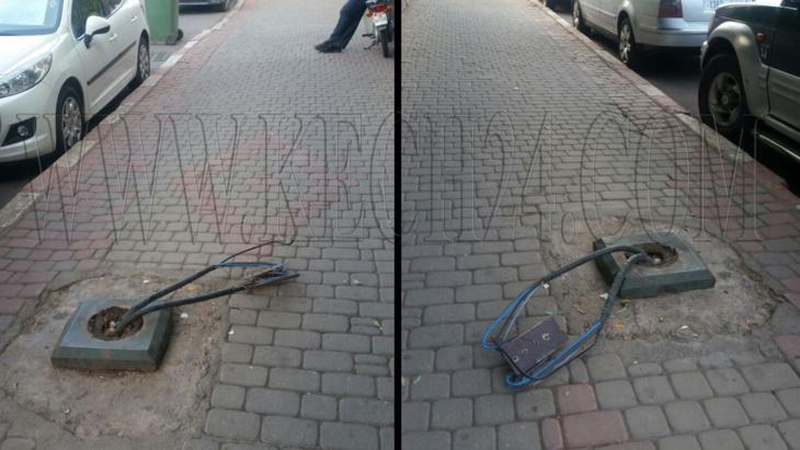 أسلاك عمود كهربائي تهدد حياة المارة بعرصة الحامض بمراكش + صورة