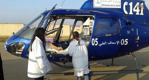 نقل طفلة تعاني تقيحا في الرأس عبر المروحية الطبية من العيون إلى المستشفى الجامعي بمراكش