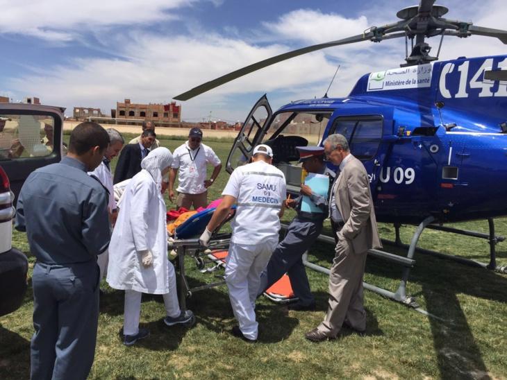 نقل سيدة حامل في شهرها السابع على متن مروحية طبية الى المركز الاستشفائي مراكش