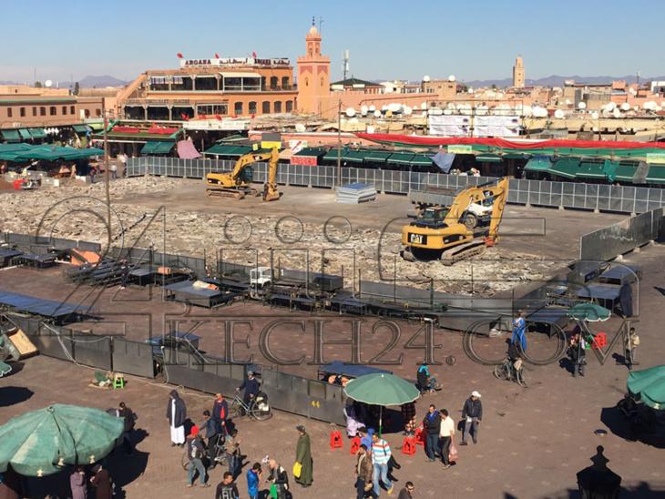 الشروع في إعادة تهيئة أرضية ساحة جامع الفنا بمراكش + صور