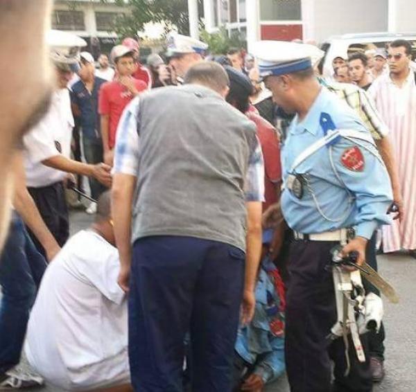 شرطي يتعرض للدهس من طرف سائق دراجة نارية والأخير يفر الى وجهة مجهولة