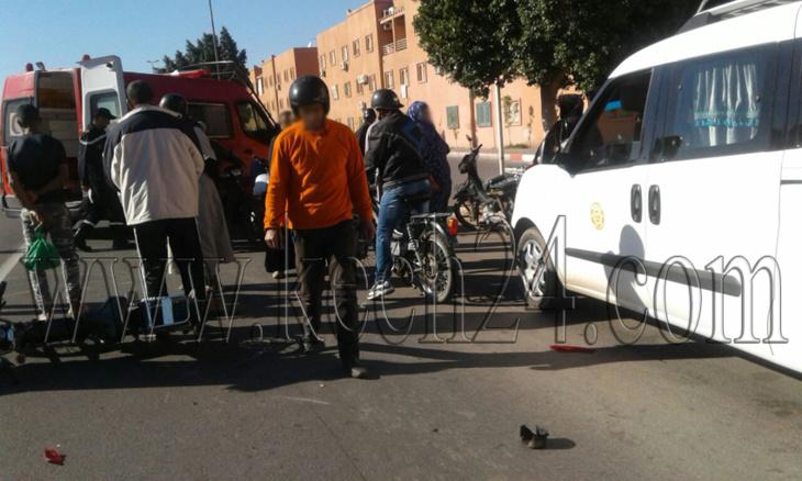 حادثة سير بحي العزوزية بمراكش تسفر عن إصابة سائق دراجة نارية + صور حصرية