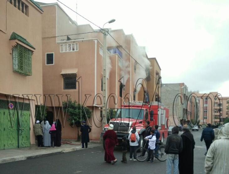 عاجل: اندلاع حريق في منزل بحي المحاميد لقديم بمراكش + صورة