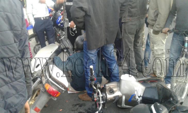 عاجل: إصطدام بين سائقي دراجتين ناريتين بسيدي يوسف بن علي بمراكش + صورة
