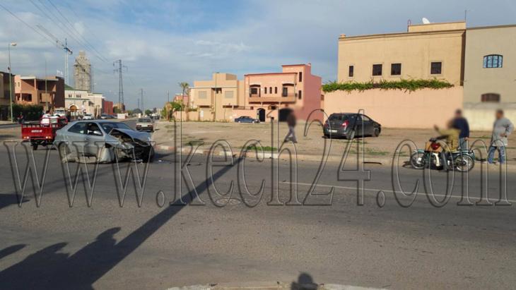 اصطدام سيارتين بحي تاركة بمراكش + صور