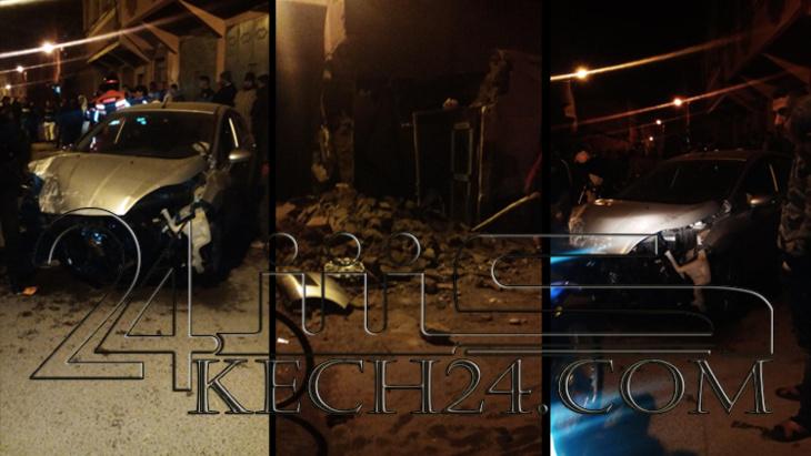 سائق سيارة يخرب واجهة منزل بمراكش ويلوذ بالفرار + صور