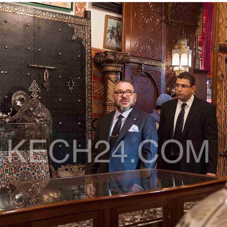 صور حصرية : الملك محمد السادس خلال زيارته لبزار باب الذهب بسوق السمارين بمراكش